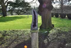 One of the magnificent healing crystals in the garden at Tofte Manor