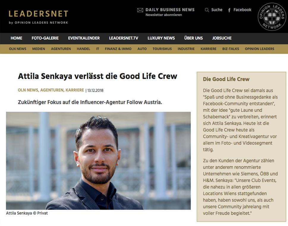 LEADERSNET - Attila Senkaya verlässt die GOOD LIFE CREW und konzentriert sich auf FOLLOW AUSTRIA.