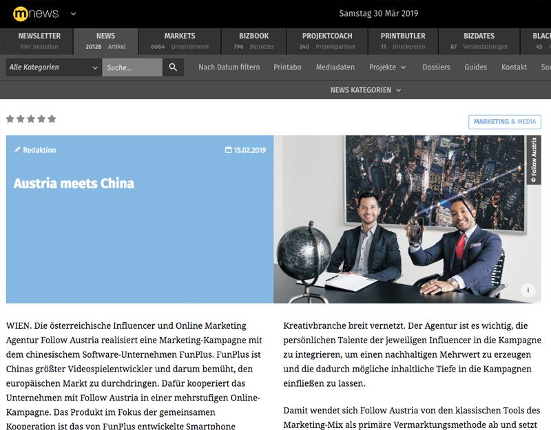 MEDIANET - Austria meets China - FOLLOW AUSTRIA realisiert internationale Kampagne