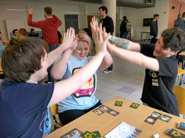 ... and then elation as the Dreamers realize they have me beat! (As an aside, we didn't stage this shot; this was seriously the most enthusiastic group of playtesters I have ever met!)