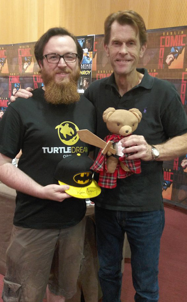 (Disclaimer: Kevin Conroy was aware that Theodore was being used to promote a project on Kickstarter before taking the photos and was fine with that; but he is in no way endorsing or affiliated with us or with Dare to Dream. Also, he is a really excellent guy in person and will talk to you in his Batman voice unprompted to get a laugh.)