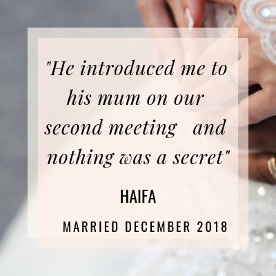 In her interview Haifa tells us how an unplanned first meeting at Burger King led to marriage!