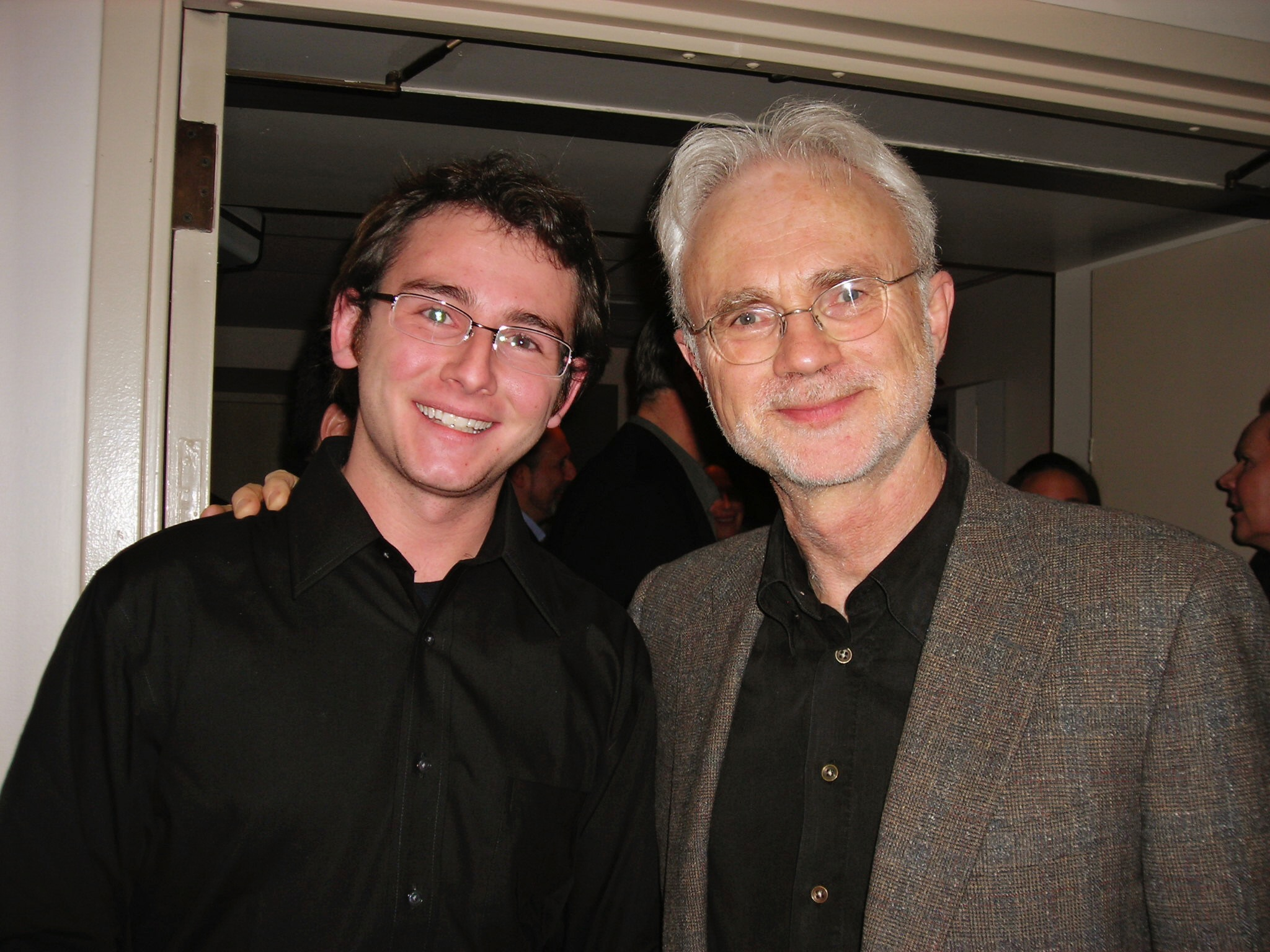 Michael (left) with composer John Adams (right).