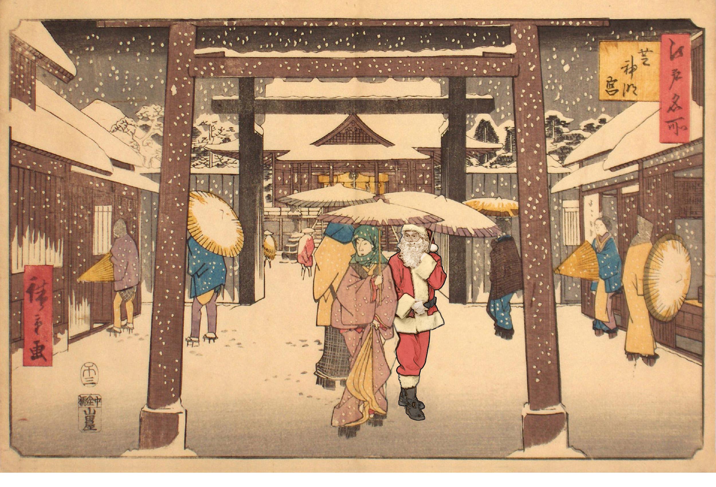 Heavy snow and visitors <br> to the Shiba Jingu Palace