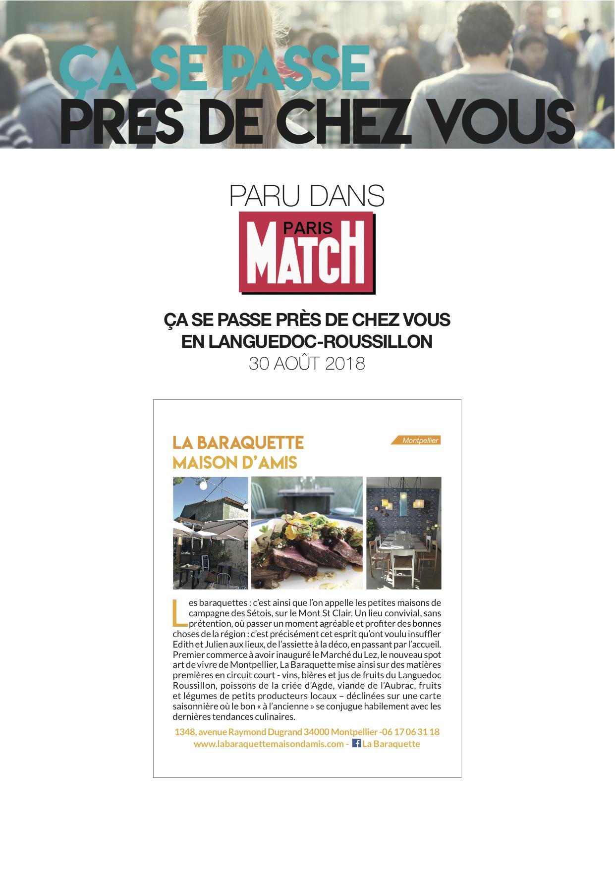 La Baraquette est dans le carnet Languedoc Roussillon du  Paris Match  du mois de Septembre. Joie