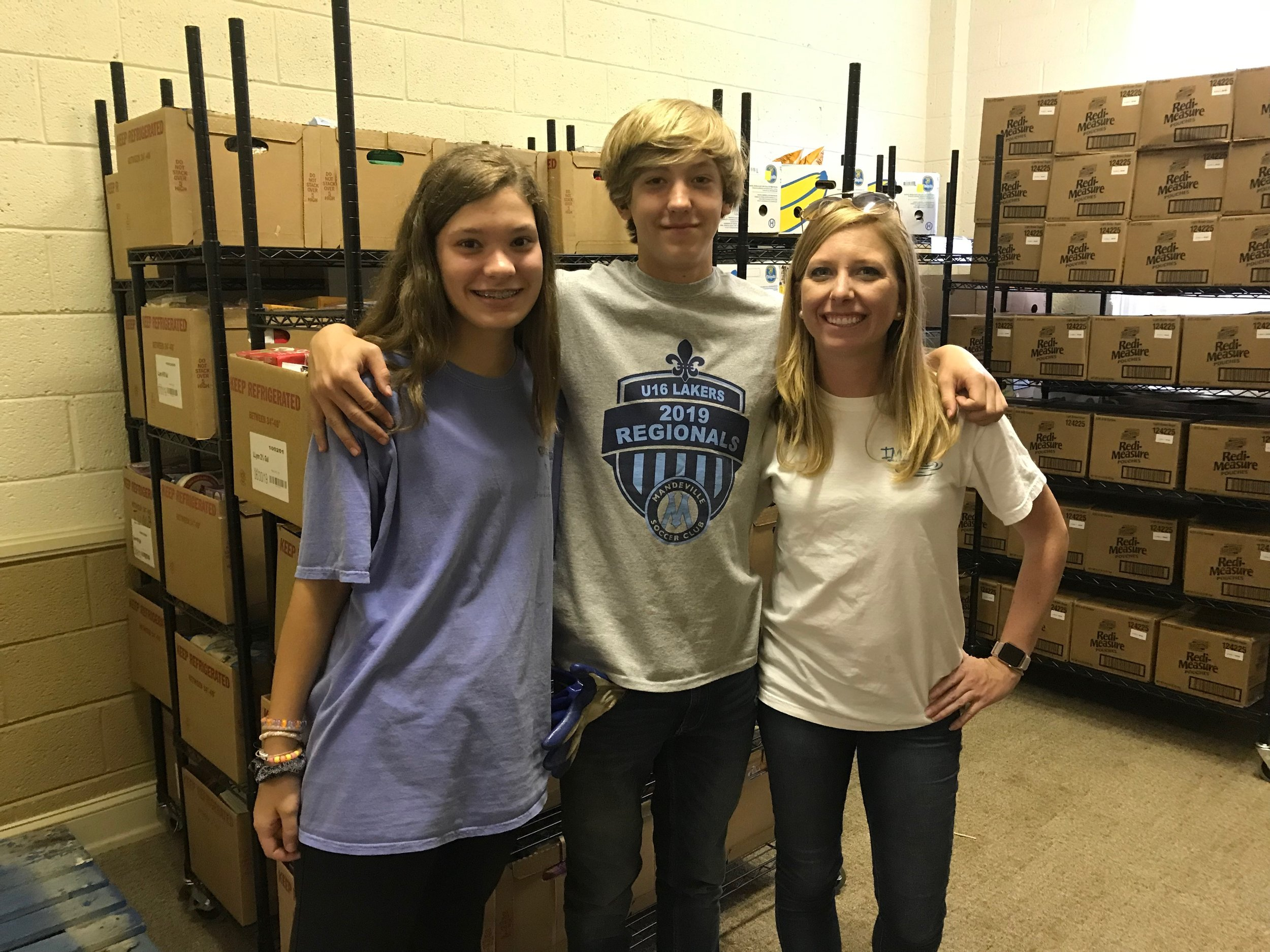 We are very thankful for eighth graders from Westover Church in High Point, NC who came during June to help pack potatoes, pinto beans, rice and staple food boxes for our July deliveries!