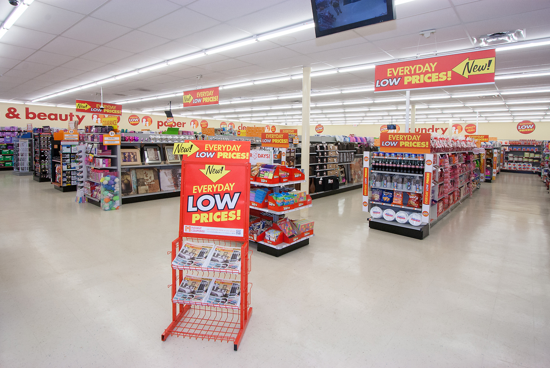 Family Dollar store with signage before Catapult created a new consistent look in-store across all POS elements.