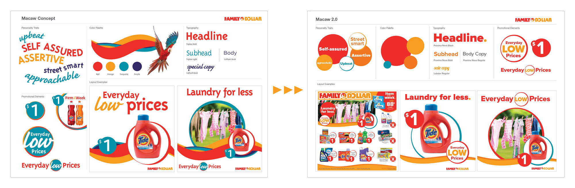 Some of the creative concepts explored eventually turning into the Family Dollar brand arch