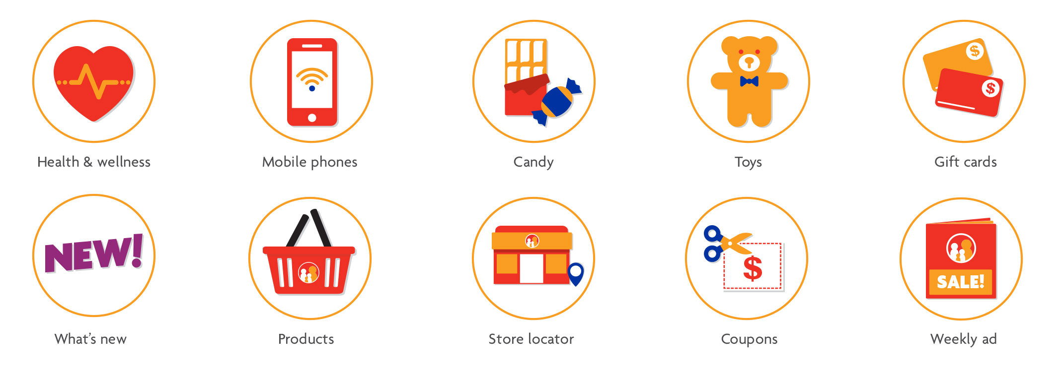 Iconography created to help navigation on the new website