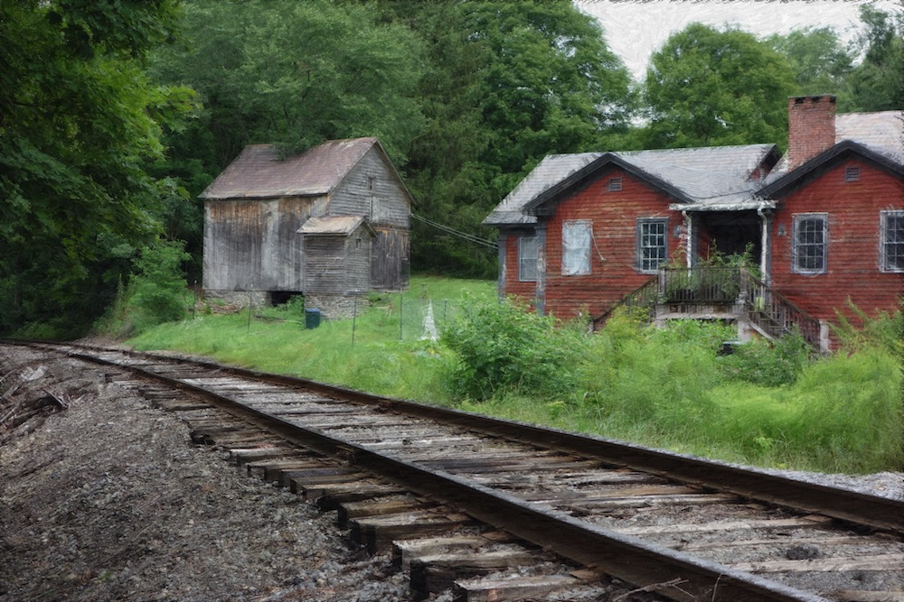 Old Train Station near tracks near Shushan, NY