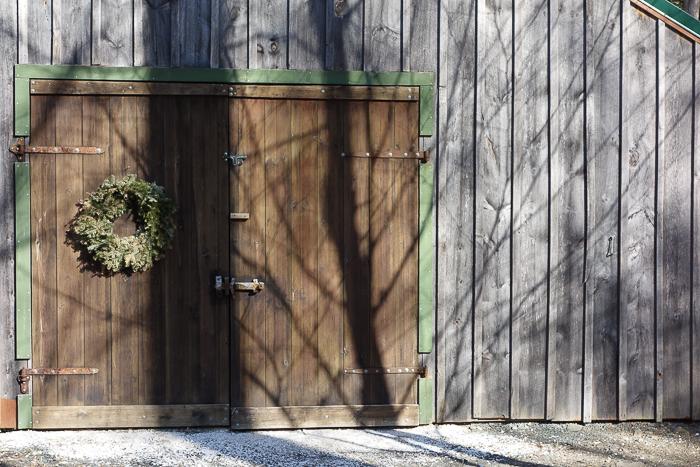 barn door with shadows