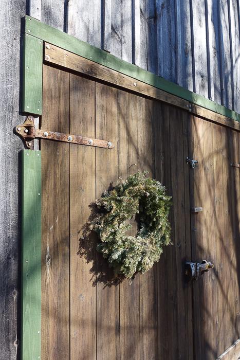 barn door with wreath
