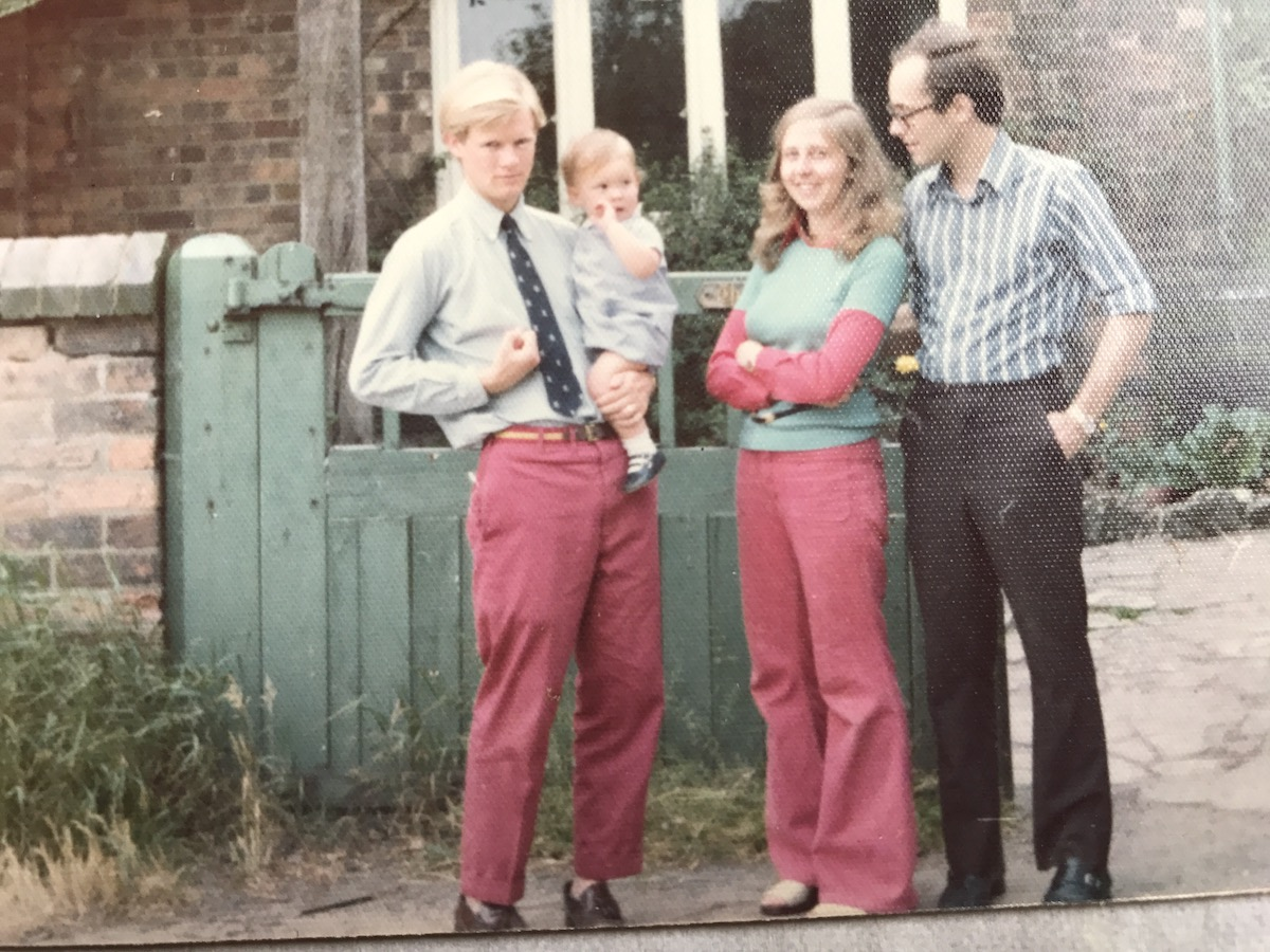 """The day we left England in 1975, standing in front of our """"Olde Cottage"""""""