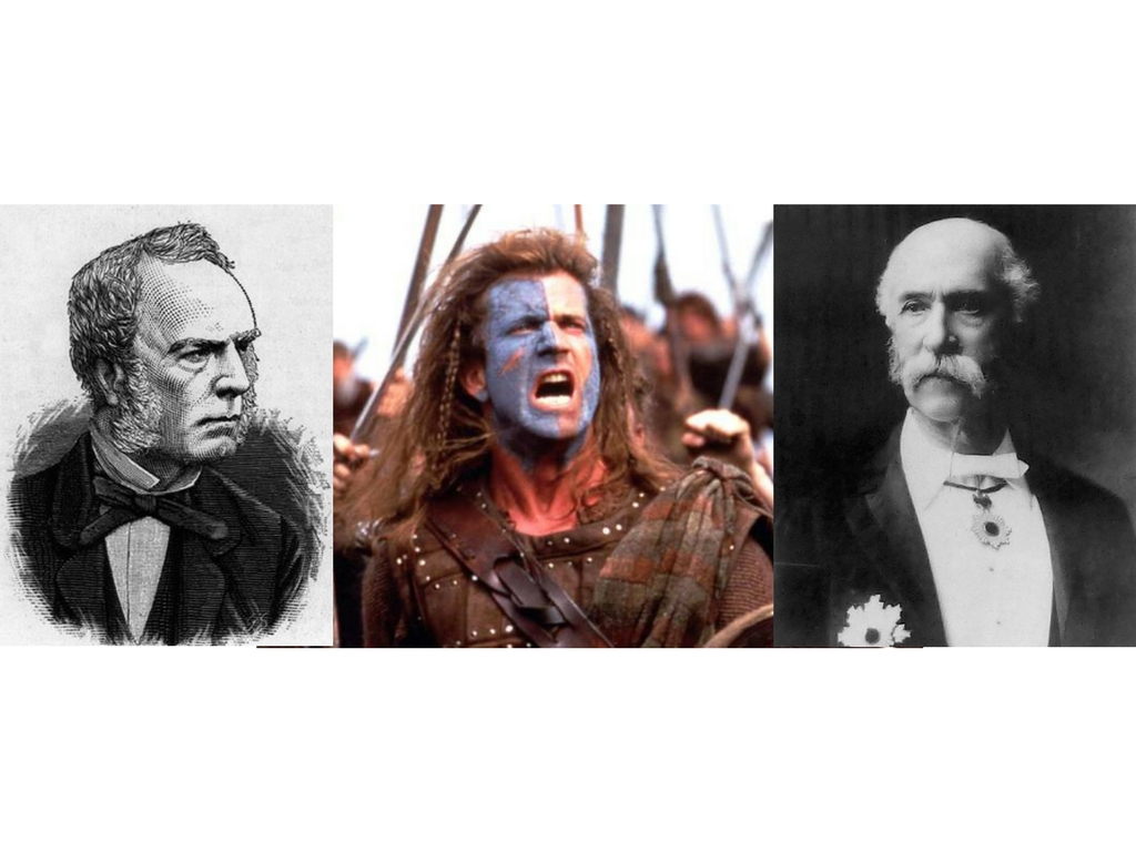 Famous Scots from Left: Robert Fortune, Mel GIbson ( actually American ) and Thomas Glover