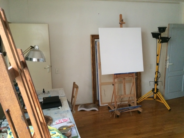 Got the Recht Boomssloot studio all cleaned up and just about ready to start on my next series.And there's that big blank canvas staring at me! [June 2016]