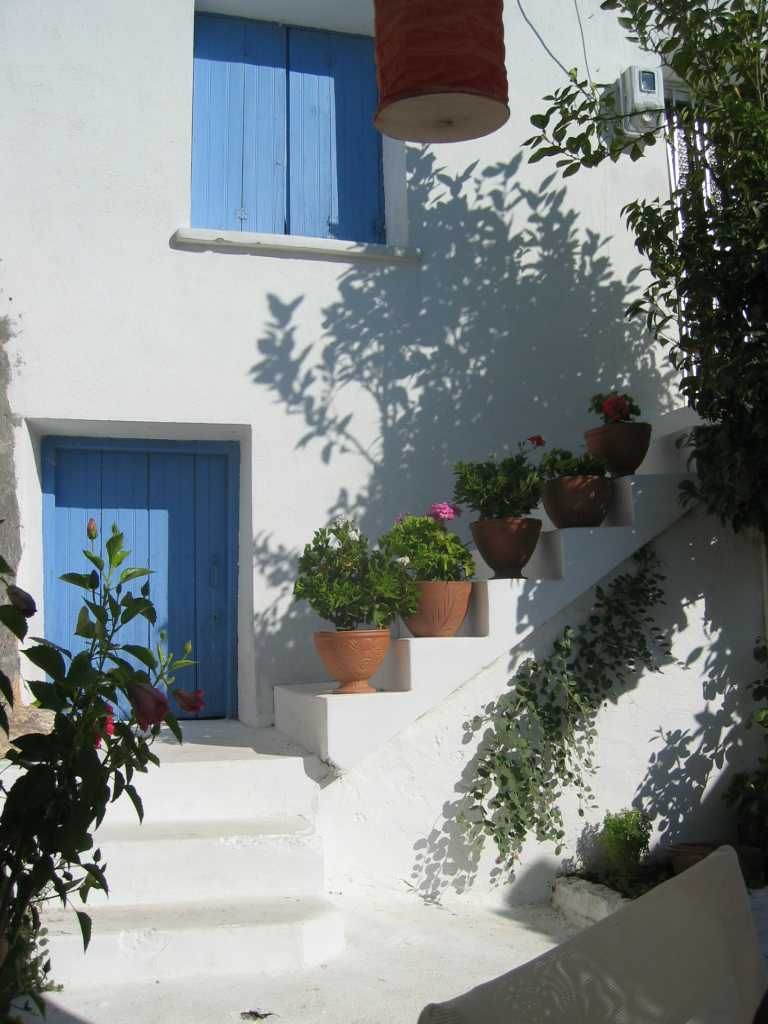 The courtyard of my studio in Eressos, Lesbos, Greece.