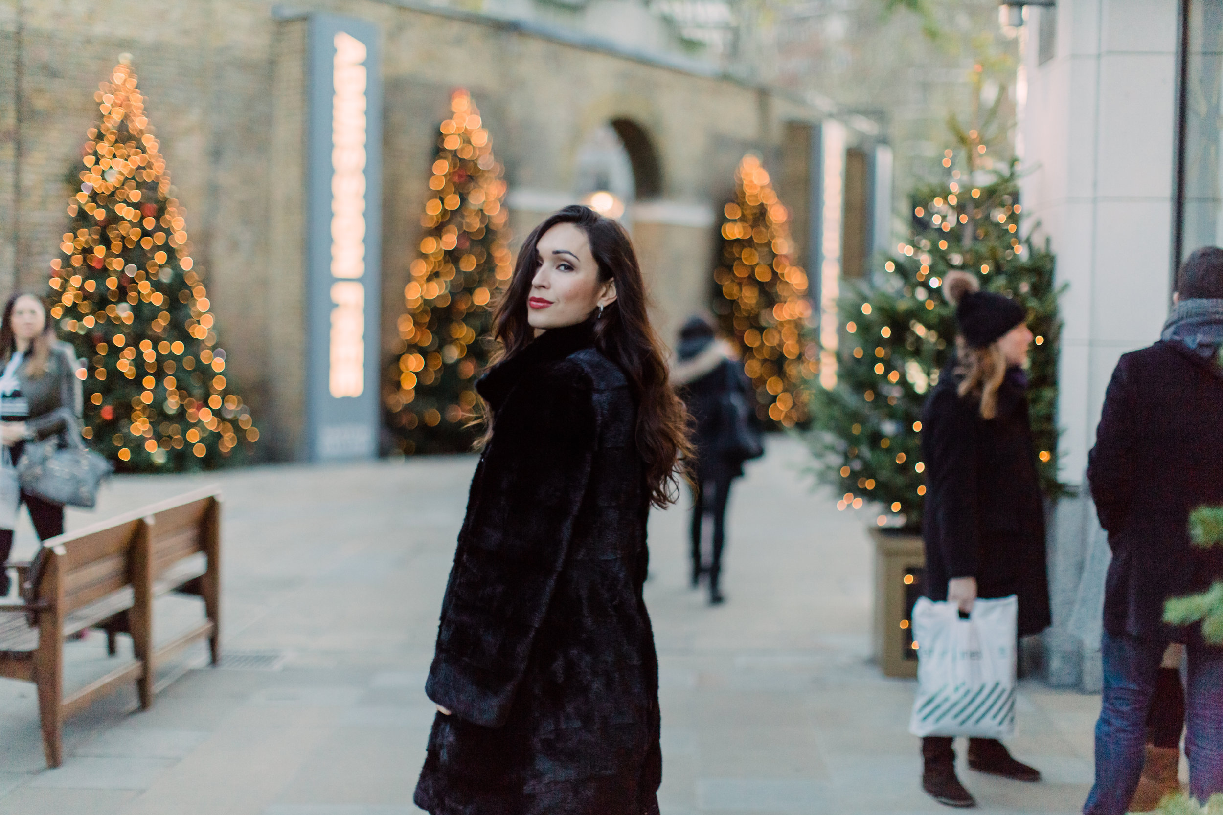 Christmas Photo Session about Kristina Rapp- Sloane Square, London UK - Joana Senkute Photography