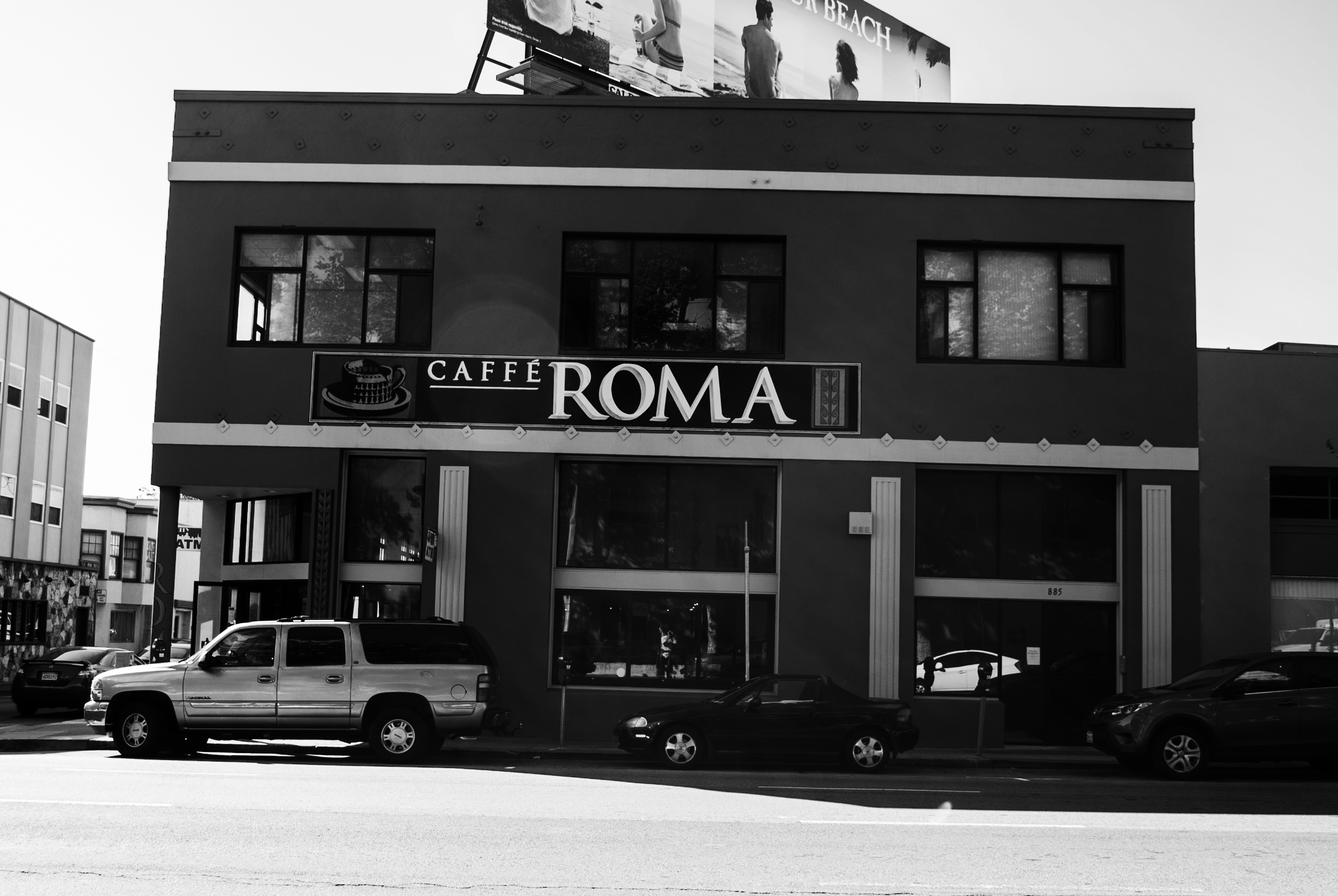 SOMA - Our South of Market caffé in front of the Hall of Justice.