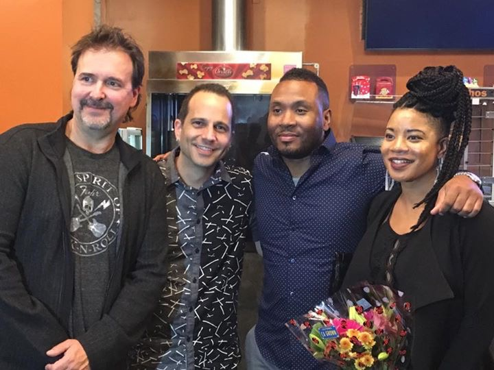 """""""Illicit"""" screening with (L-R) composer dave Bateman, composer Willie Bailey, and Sha-ray"""