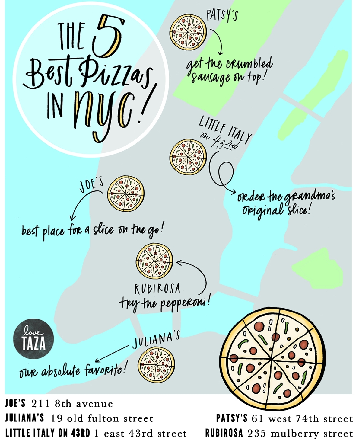 pizza map for Love Taza