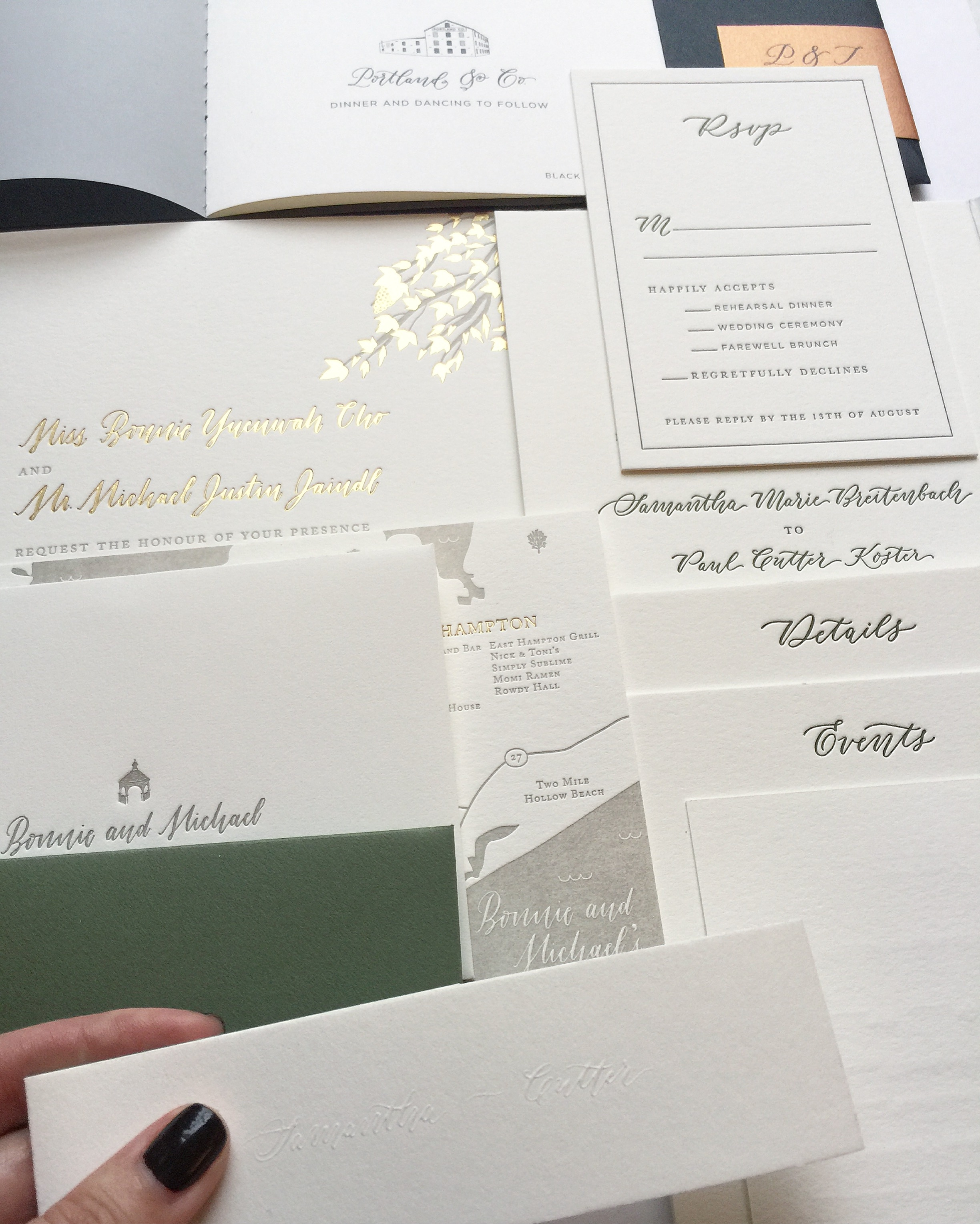 invitations pictured designed by Fourteen Forty with my spot calligraphy | 1440nyc.com