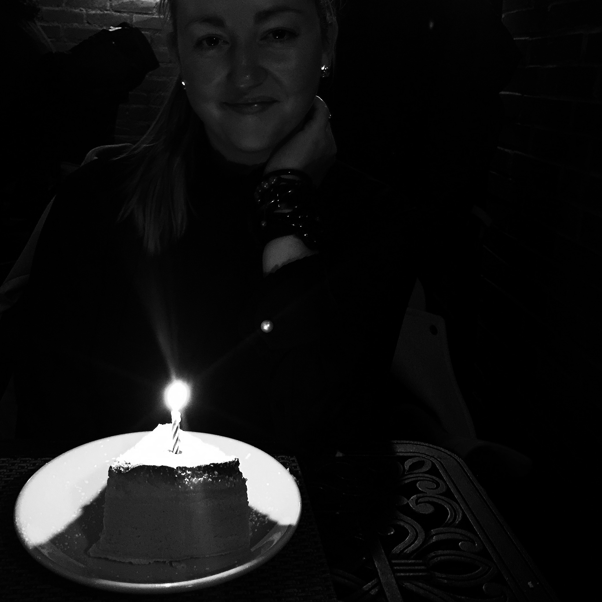 taken by Patrick at Joanne Trattoria (Lady Gaga's parents' restaurant) right before I made a wish, and blew powdered sugar all over myself.