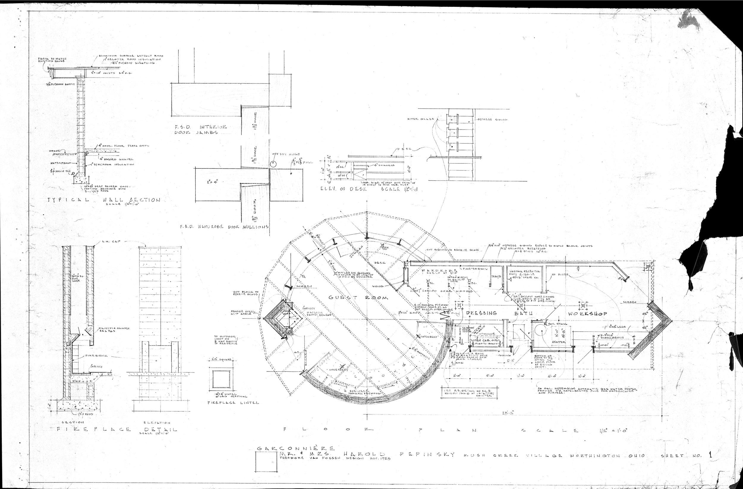 ted van fossen's original plan of the guest house