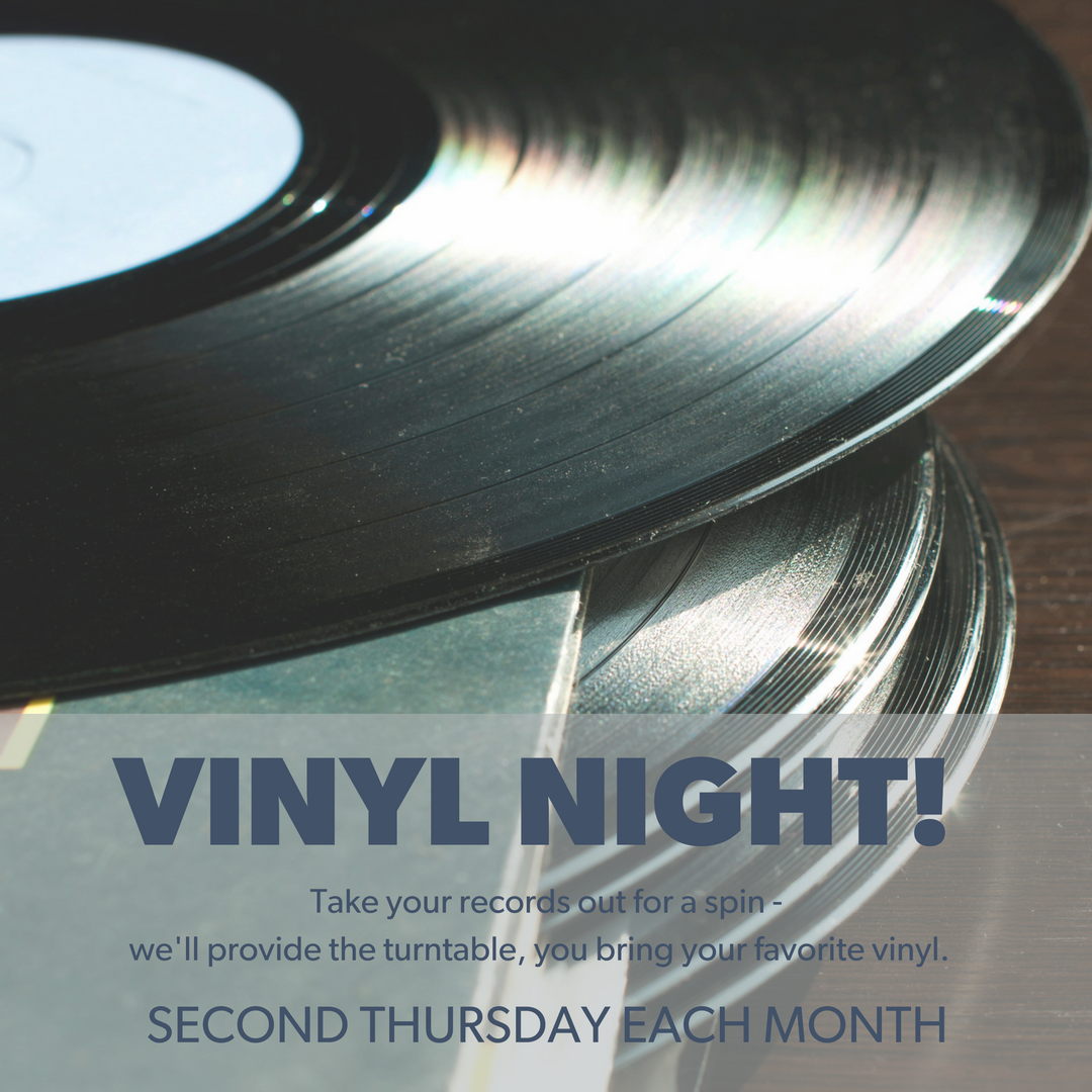 Grab those records and take 'em for a spin - we'll provide the turntable, you bring your favorites and best to play, sell, or trade. See you on the second Thursday every month!