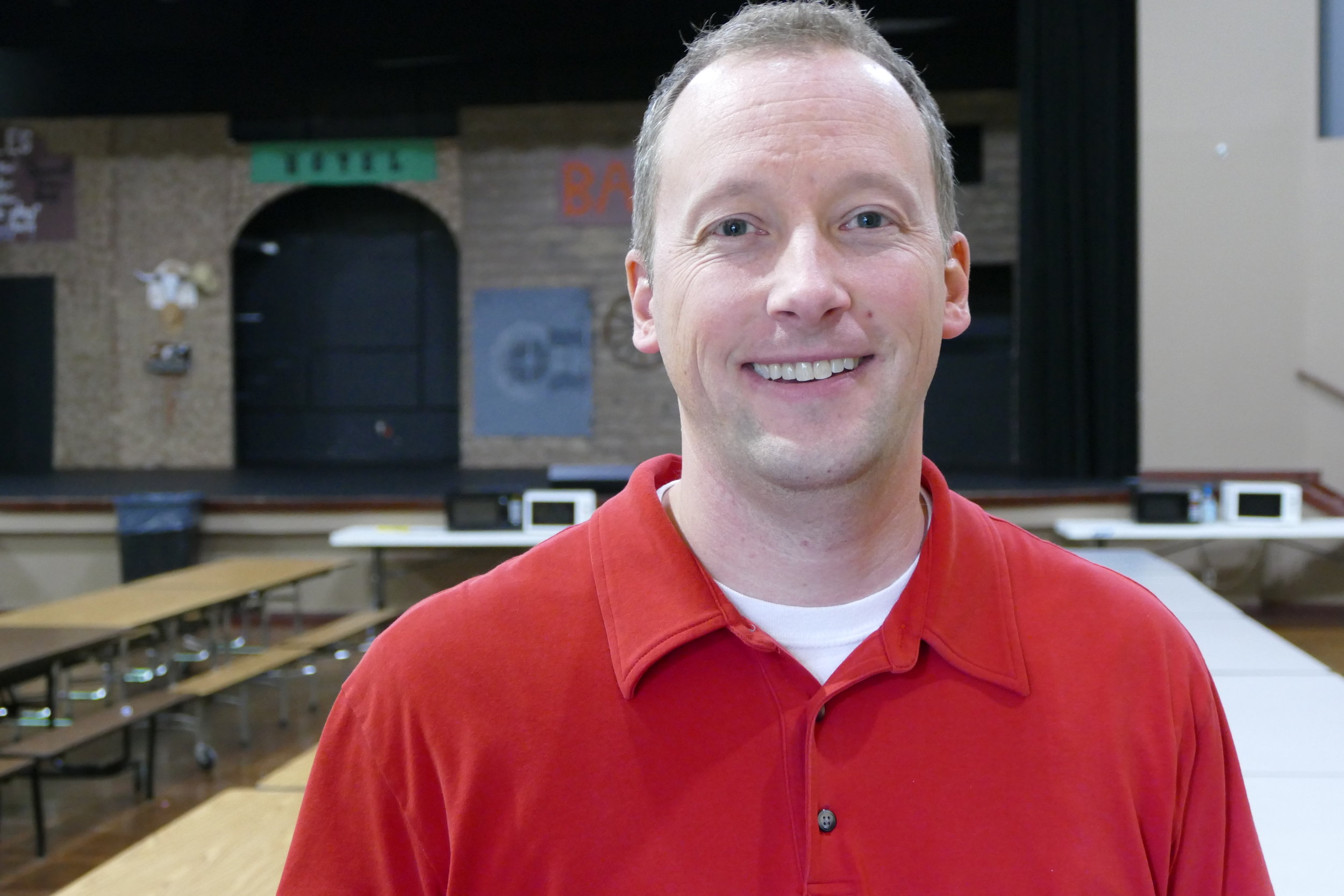 Kevin Jackson , moderator of GCA's mock election, served as poll monitor during Tuesday's election.
