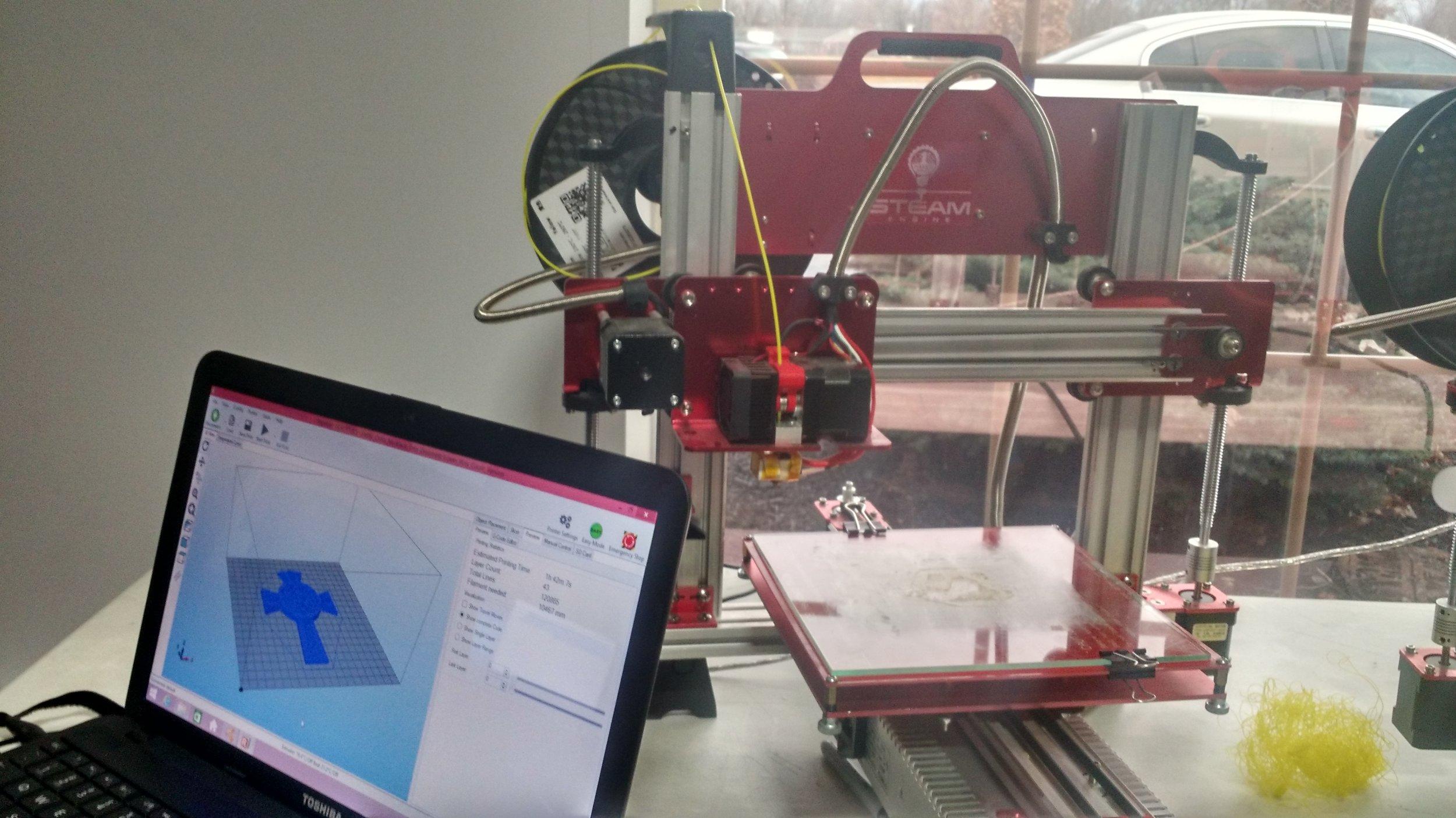 A 3D printer linked to computer design software.