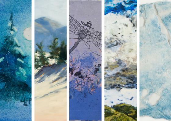 Details of work by Lillian Loponen, Valerie Hodgson, Joyce Majiski, Nicole Bauberger, Helen O'Connor (L-R).