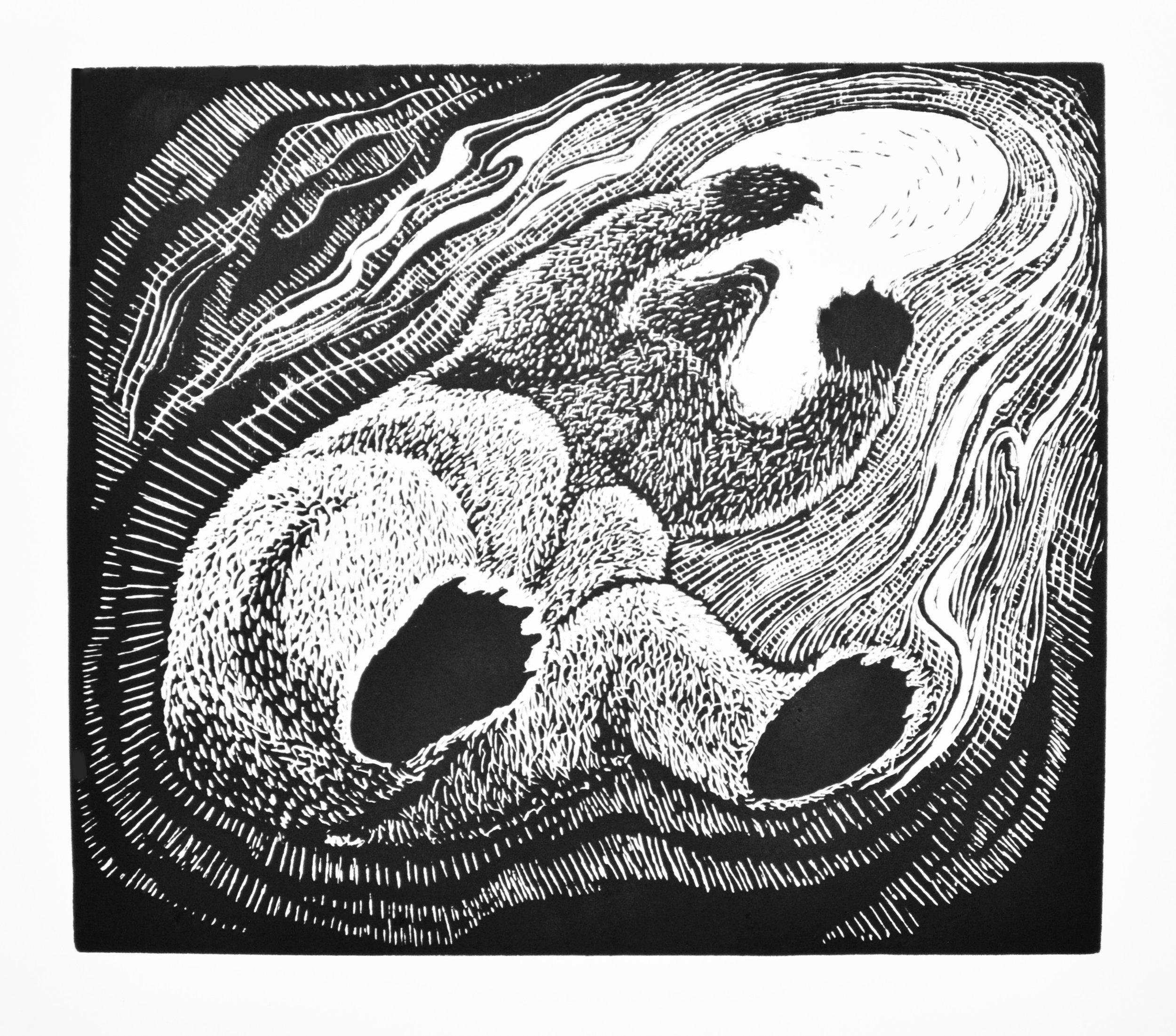 Linda Leon,  Toward Light , 2017.Relief Print.20 x 18 in.