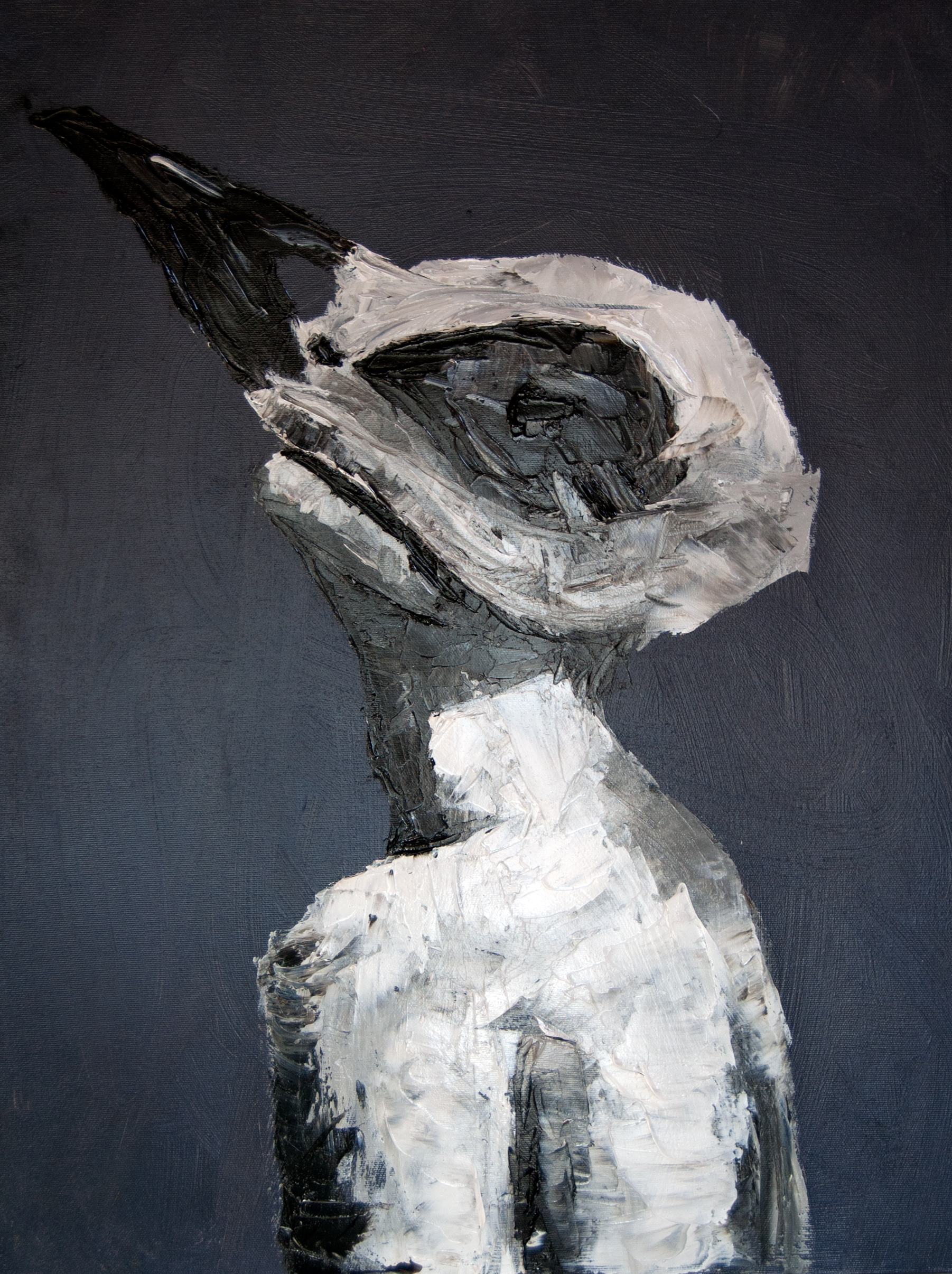 Heather Von Steinhagen,  Bird Brain , 2015. Acrylic and Oil on Canvas. 18 x 24 in.
