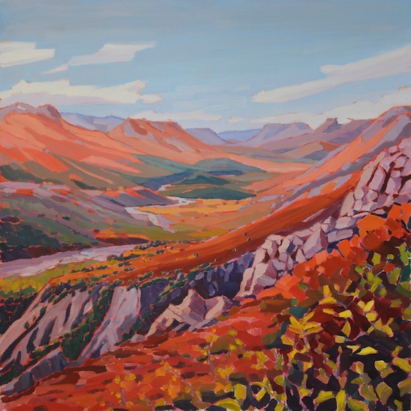 Jane Isakson, Above the Tatshenshini River,  Yukon. Oil on Board. 24 x 24 in.