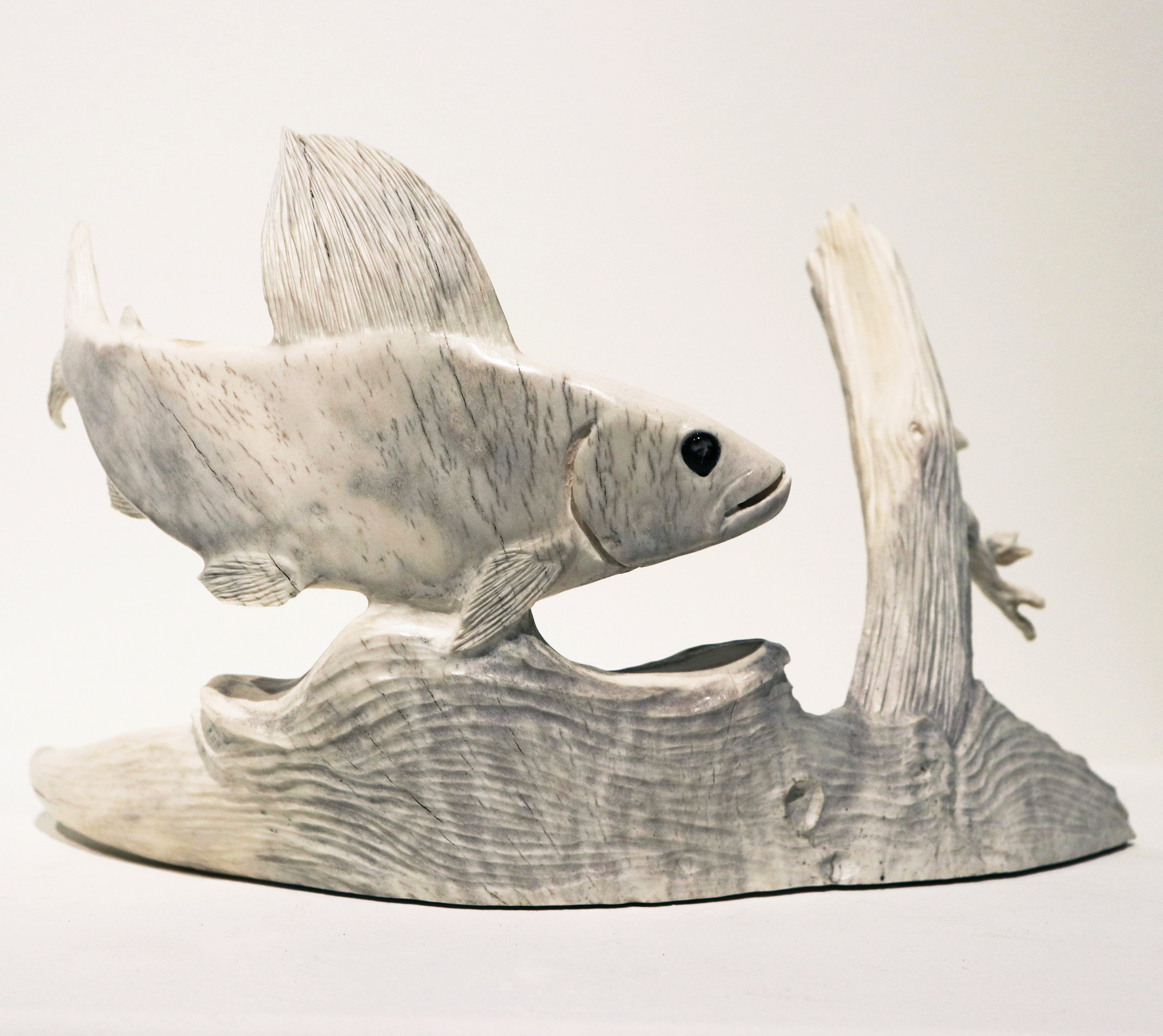 Dennis Shorty, Arctic Grayling with Dragonfly, 2011. Moose Antler, Musk Ox Horn.