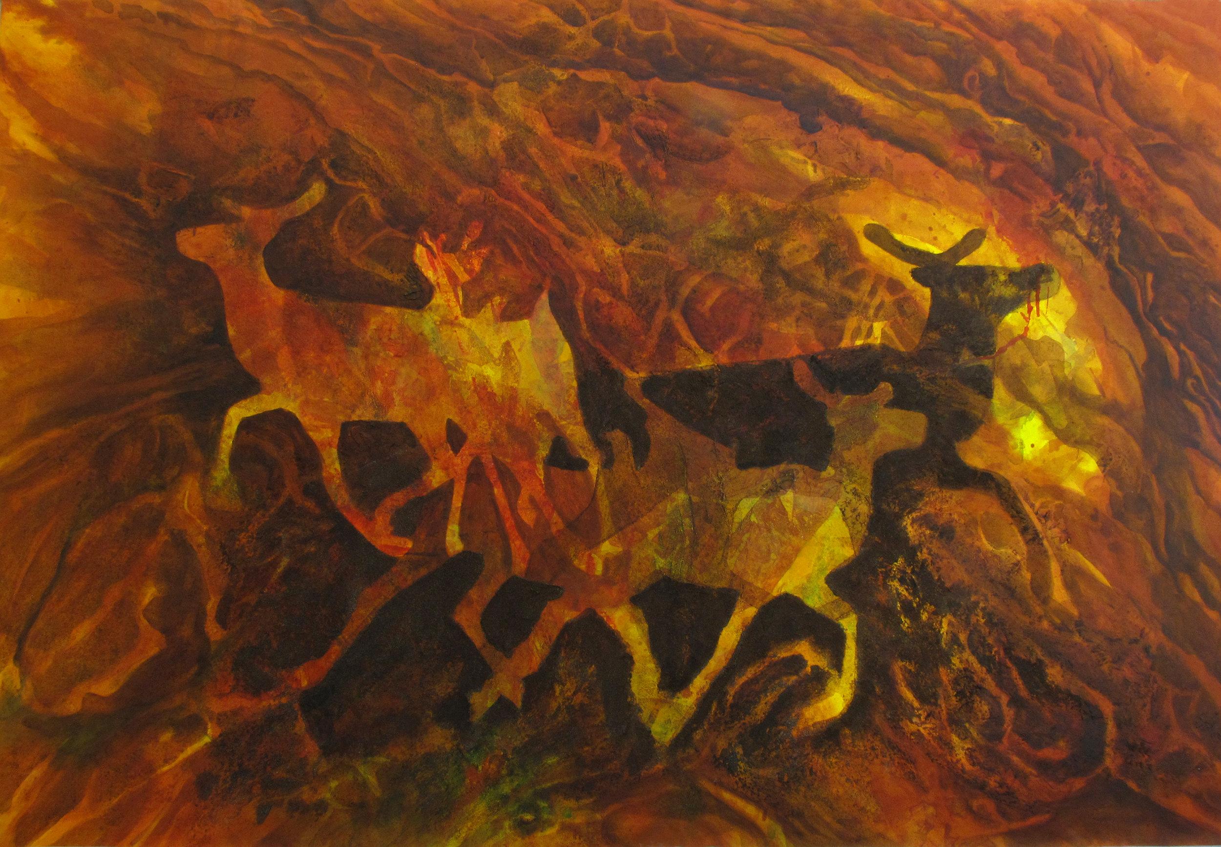 Joyce Majiski, Spiral Dance , 2012. Acrylic and mixed media on canvas. 48.5 x 72 in.
