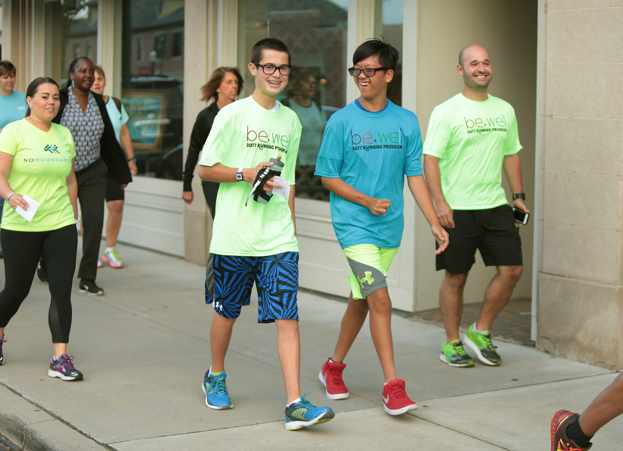 The group of runners and their buddies starts at Fleet Feet Sports twice a week to train for the Matthew 25 Hunger 5K. The race will take place on November 4th.