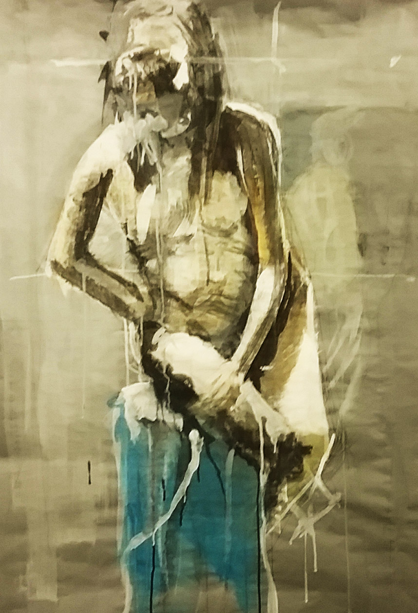 """Winner: 2018 SDE Drawing and Design Show  Thirty- Minute Figure Painting  36"""" x 72"""" Grey Paper  Acrylic Paint with Sponge Brush"""