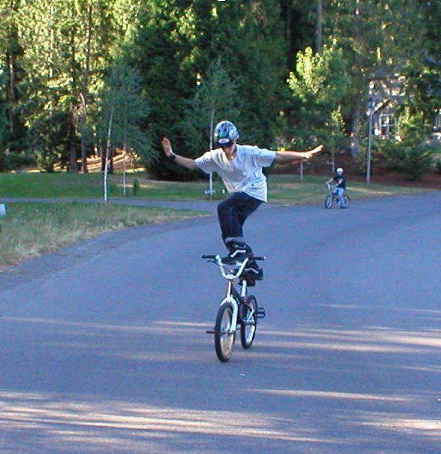 Steven at an earlier age than his bike accident - you can see he likes to test his limits. :)
