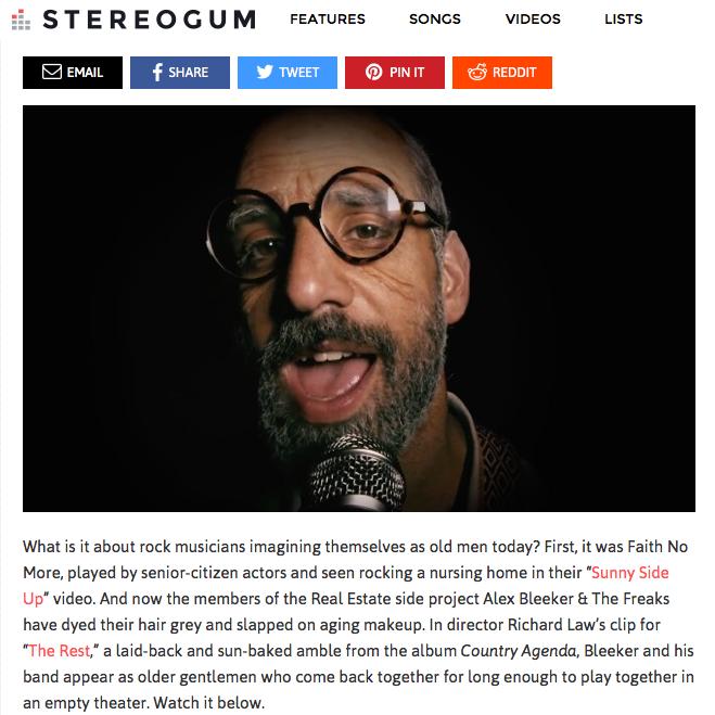 "Stereogum: Alex Bleeker & The Freaks – ""The Rest"" Video"