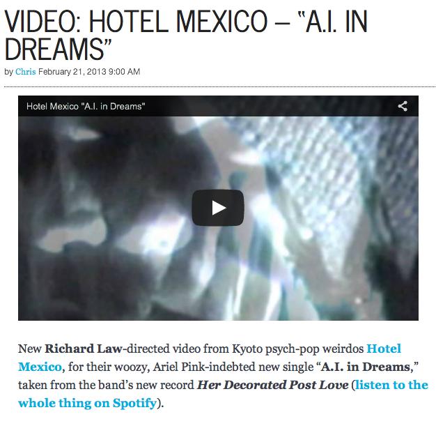 """Gorilla vs Bear: Video: Hotel Mexico - """"A.I. In Dreams"""""""