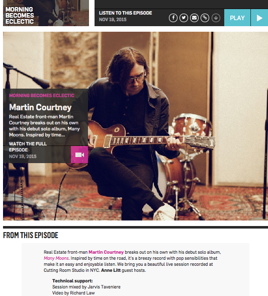 Morning Becomes Eclectic: Martin Courtney