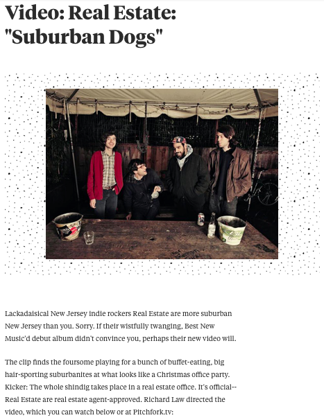 "Pitchfork.com - Real Estate: ""Suburban Dogs"""