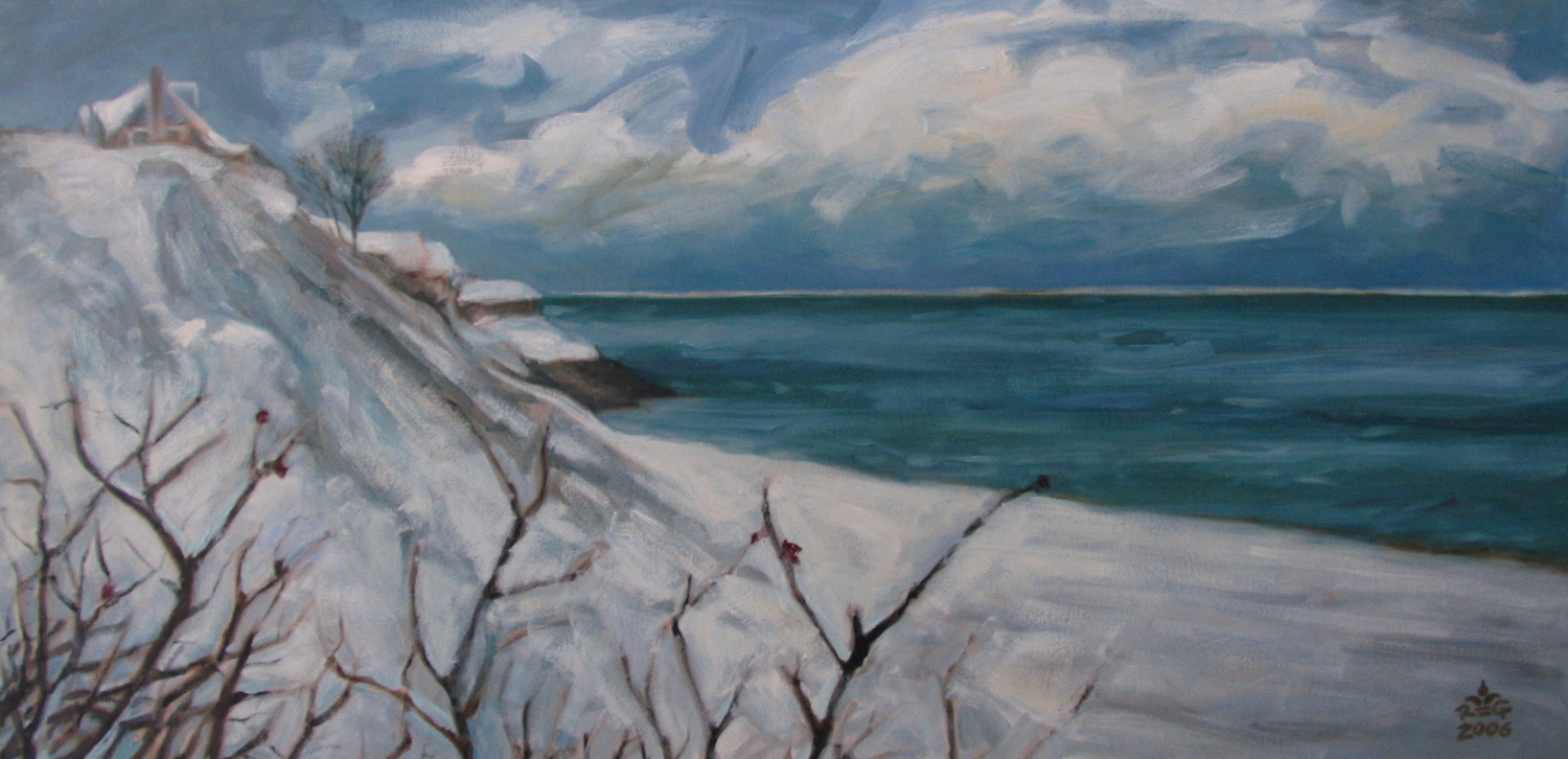 """""""CHATHAM SNOW"""", 24""""x 48"""" oil on canvas, SOLD"""