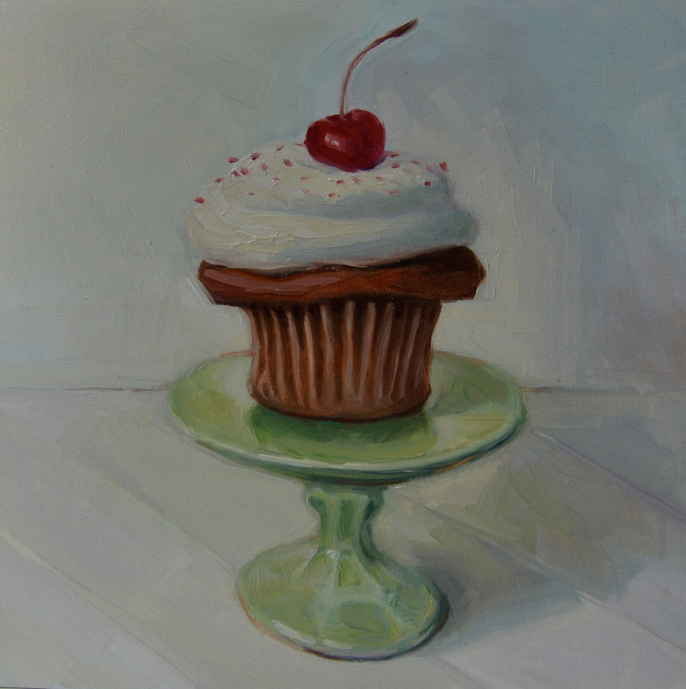 """""""CUPCAKE I"""", 8""""x 8"""" oil on canvas, SOLD"""