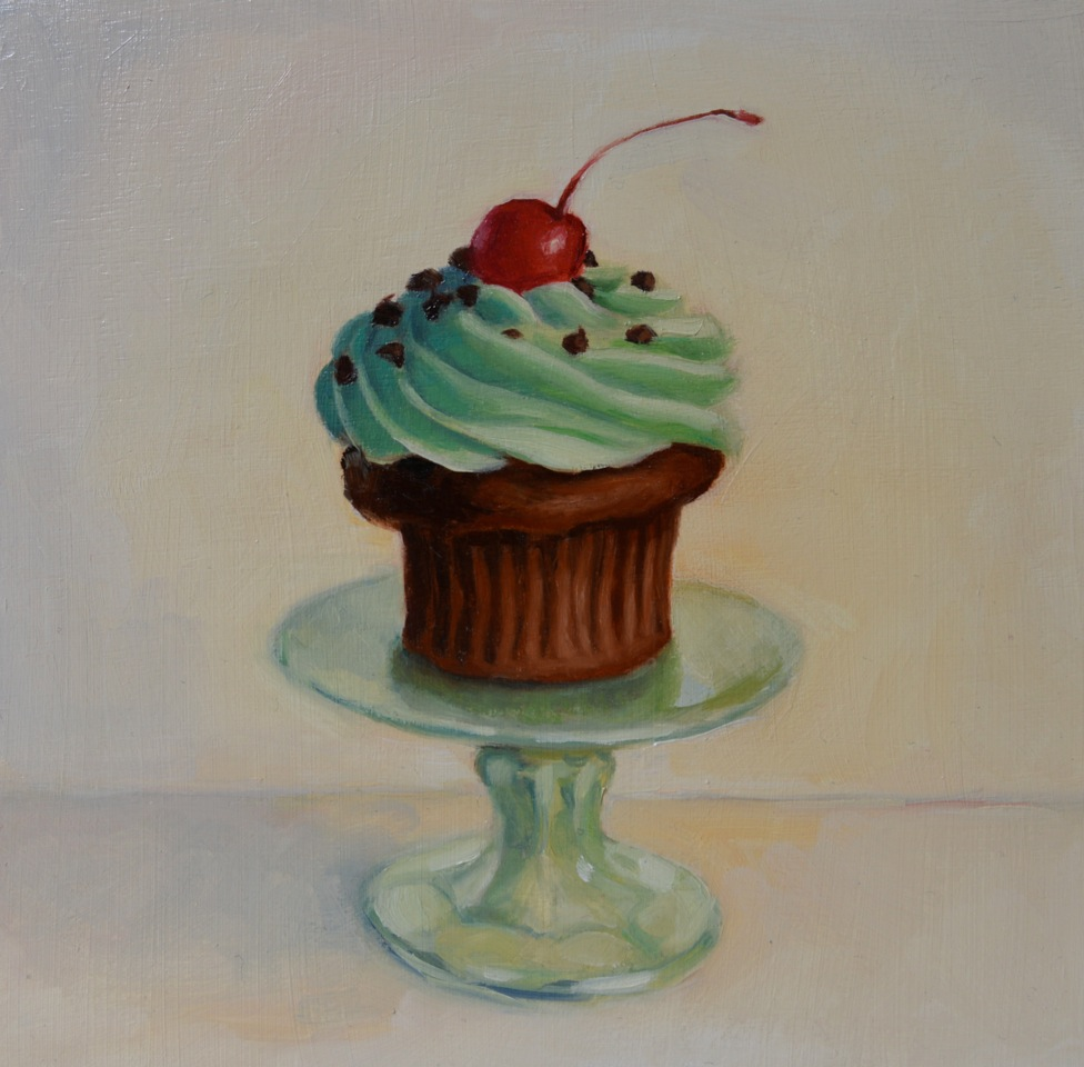 """""""CUPCAKE II"""", 8""""x 8"""" oil on canvas, SOLD"""