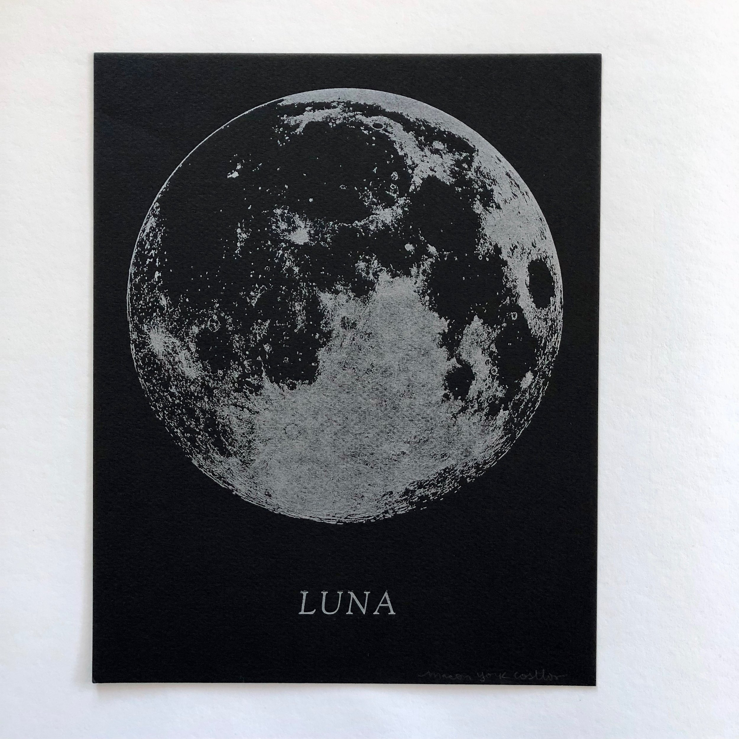 LUNA     Silver metallic full moon printed on black pastel paper. The ink has a beautiful shimmer.