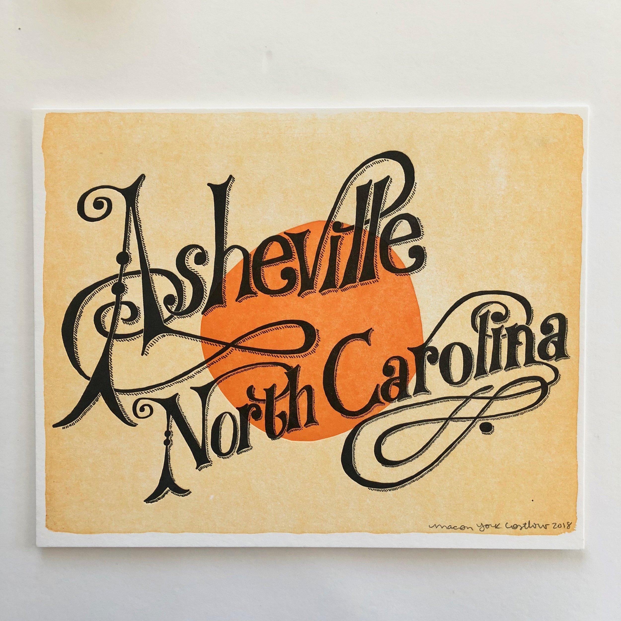 ASHEVILLE, NORTH CAROLINA // HARVEST     Hand-drawn typography inspired by Neil Young's album  Harvest . Three color print: faded honey, bright orange, and black ink.