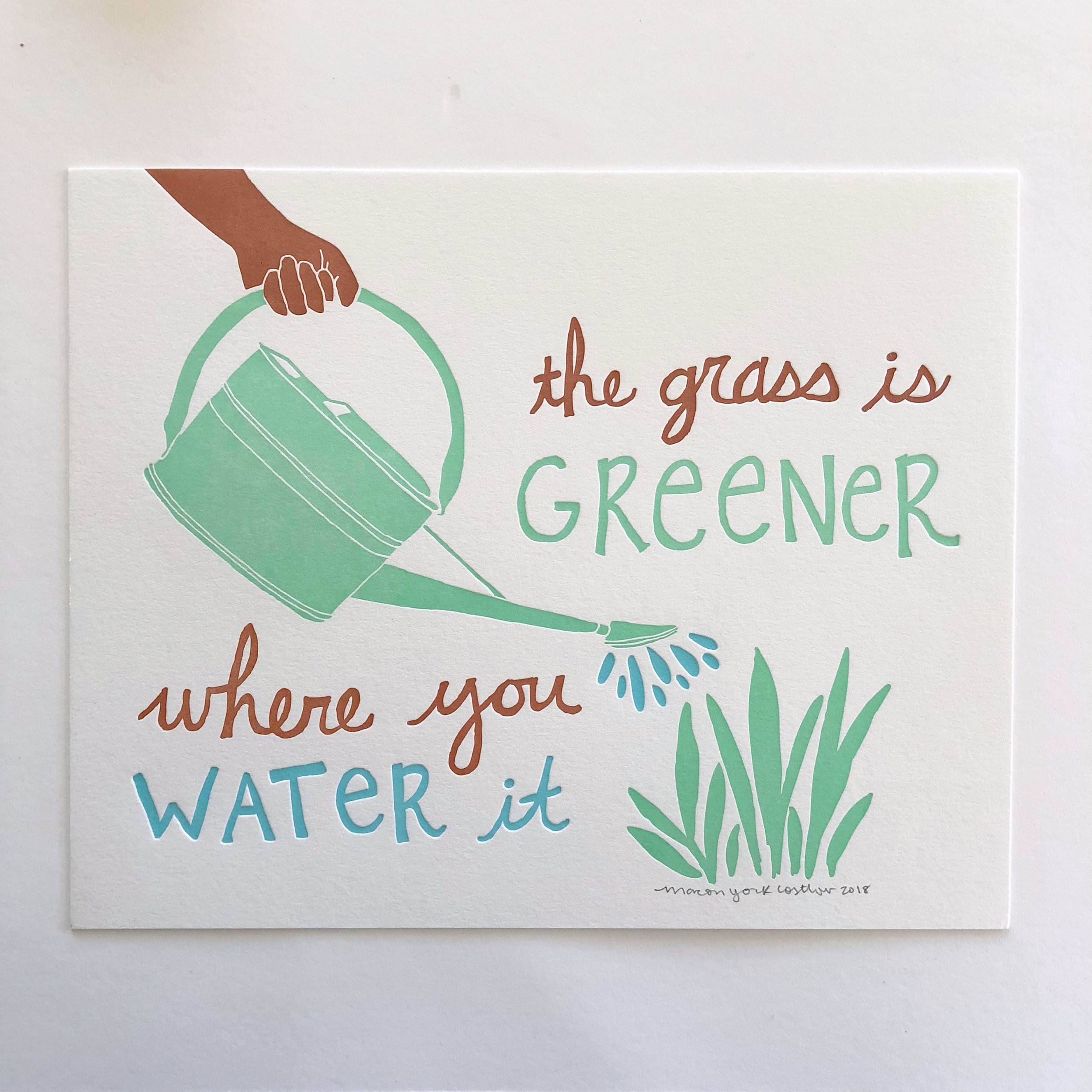 THE GRASS IS GREENER (mocha)     Inspirational three-color print, available in two skin-tone colors.