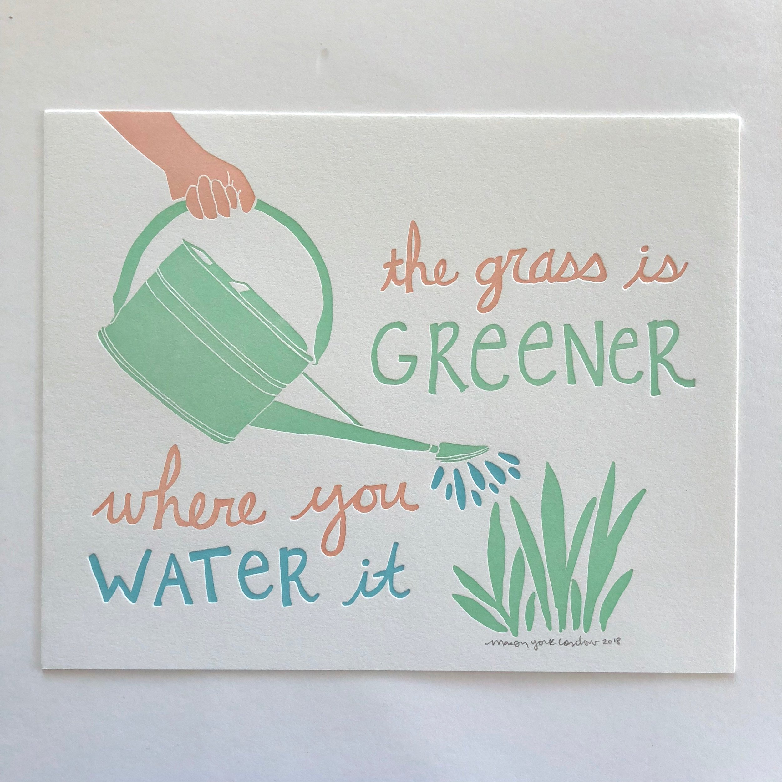 THE GRASS IS GREENER (peach)     Inspirational three-color print, available in two skin-tone colors.
